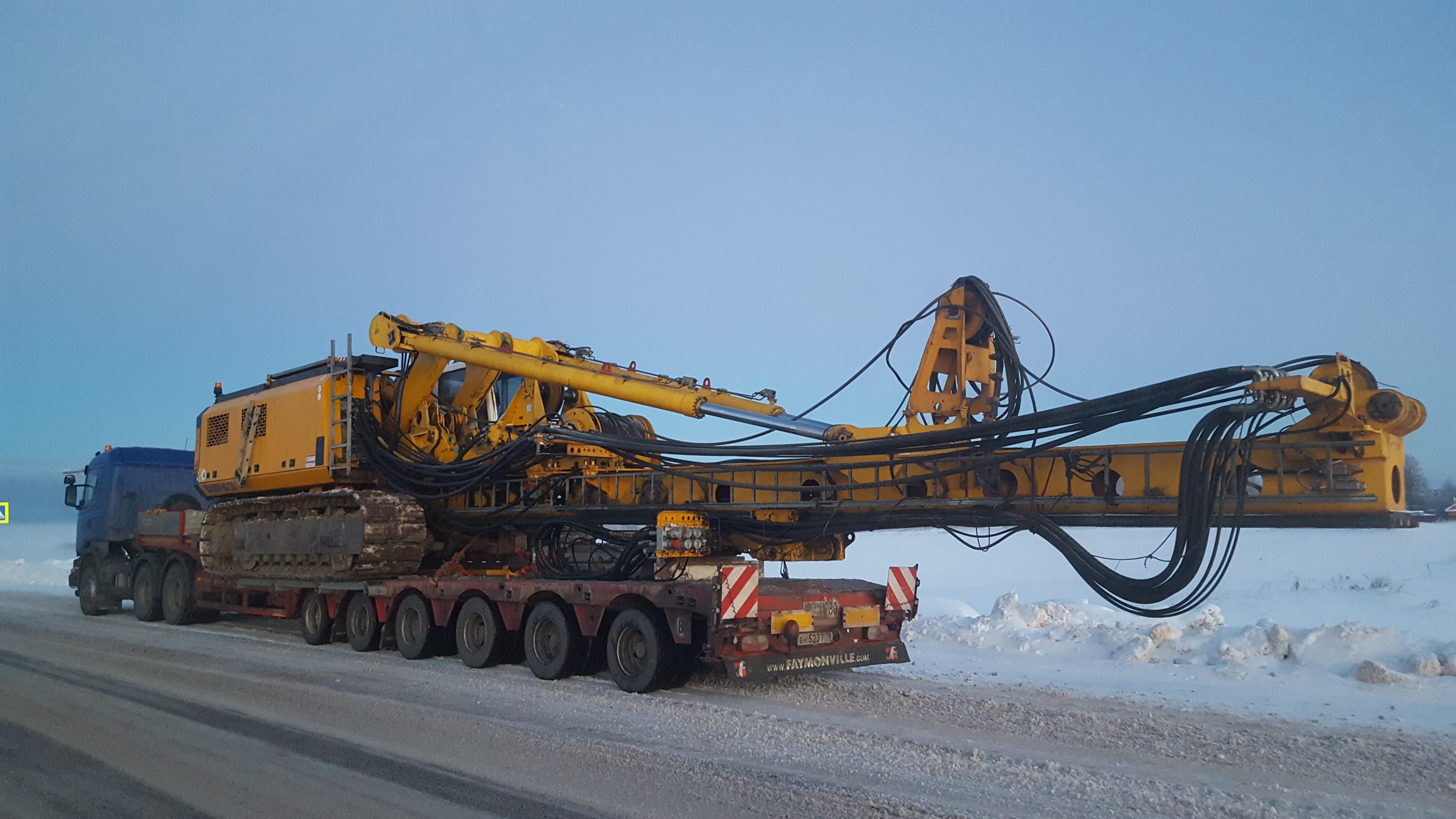 Перевозка промышленной техники весом 80 тонн в зимних условиях