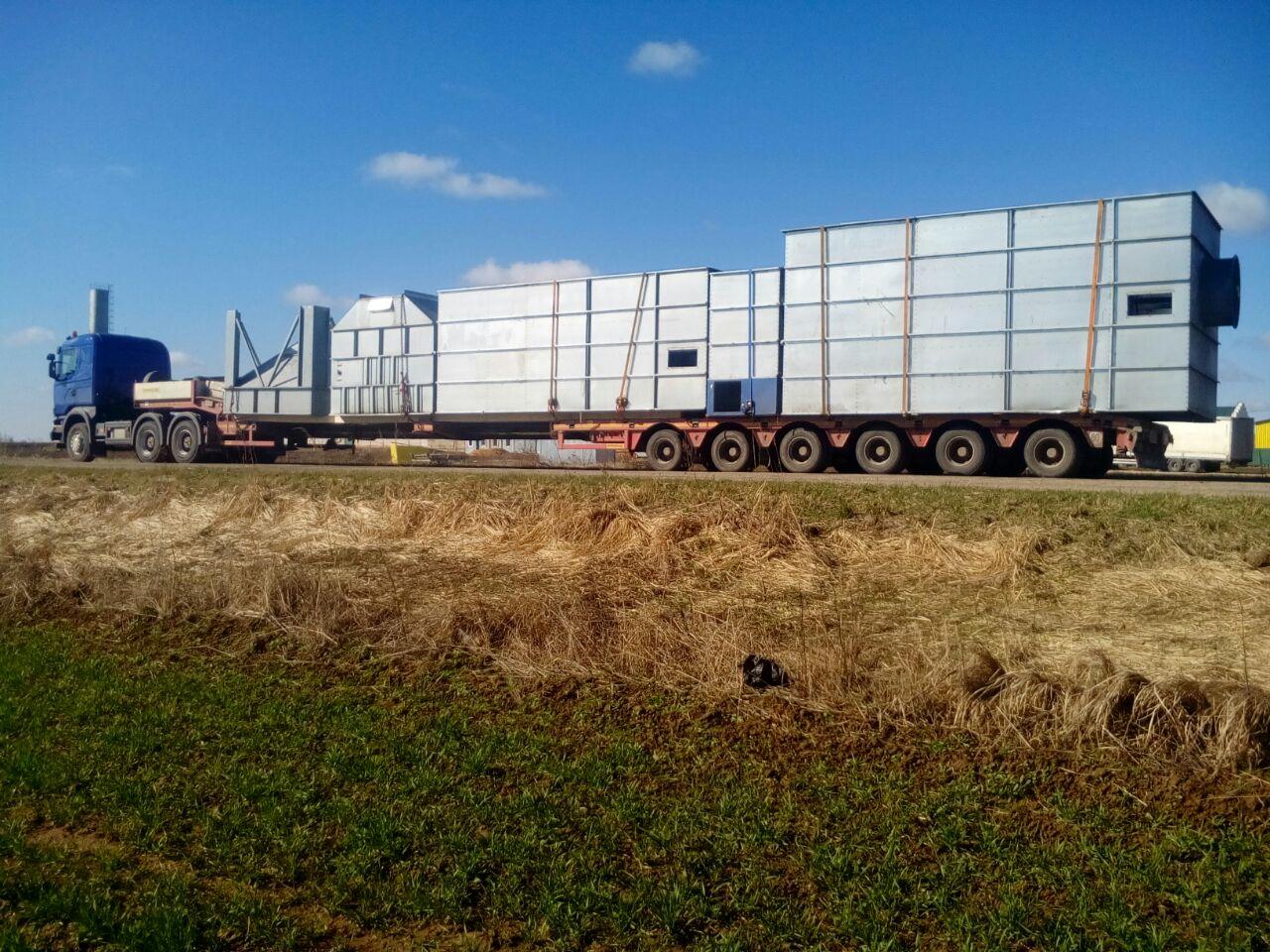 Перевозка бетонного завода: вес 30 т, размер груза 21х3,5х3,6м